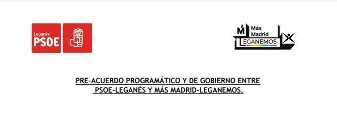 Cabecera del preacuerdo programático del PSOE de Leganés y Más Madrid-Leganemos