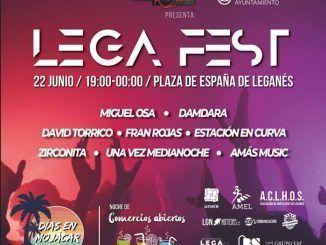 Cartel promocional de Lega Fest, I festival solidario de Leganés