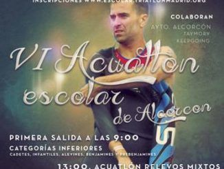Cartel promocional del VIU Acuatlón Escolar de Alcorcón