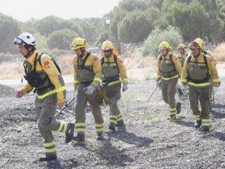 Bomberos trabajando en la extinción del incendio de la Comunidad de Madrid