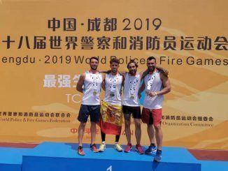 Bomberos de Fuenlabrada en los Juegos Mundiales para Bomberos y Policías de Chengdu.