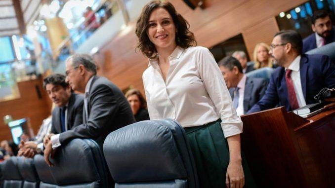 Díaz Ayuso durante su investidura como presidenta de la Comunidad de Madrid