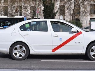 Transporte público del taxi en Madrid.