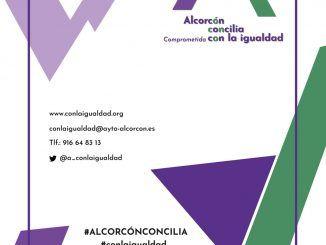 Cartel del programa Alcorcón Concilia Comprometida con la Igualdad.