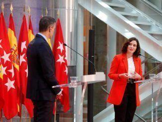 La Presidenta de la Comunidad de Madrid, Isabel Díaz Ayuso y el Presidente del Gobierno, Pedro Sánchez