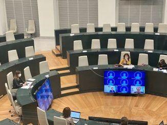 Sofía Miranda durante la Comisión de Deporte que se ha reunido esta mañana en Cibeles