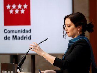 La presidenta de la Comunidad de Madrid, Isabel Díaz Ayuso, ofrece una rueda de prensa sobre los Presupuestos de la región 2021.