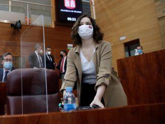 La presidenta de la Comunidad de Madrid, Isabel Díaz Ayuso durante el debate del pleno de la Asamblea de Madrid.