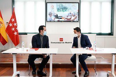 El vicepresidente de la Comunidad de Madrid, Ignacio Aguado en la presentación del Acuerdo Marco de las residencias de mayores