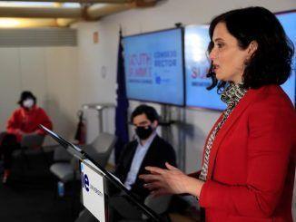 La presidenta de la Comunidad de Madrid, Isabel DíazAyuso, interviene en la reunión del Consejo Rector de South Summit 2021.