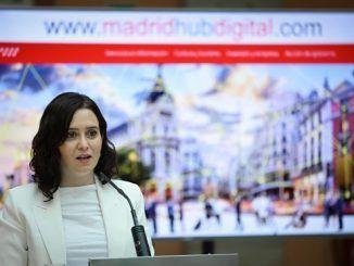 Isabel Díaz Ayuso en la presentación del informe Madrid, hub digital del sur de Europa